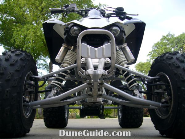 KFX450R front chassis design is a single box-tube lower frame