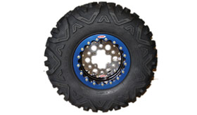 "12"" Billet Center Wheel with Polished Center, Black Rim Shell, and Blue Beadlock Ring with Maxxis Bighorn Tire"