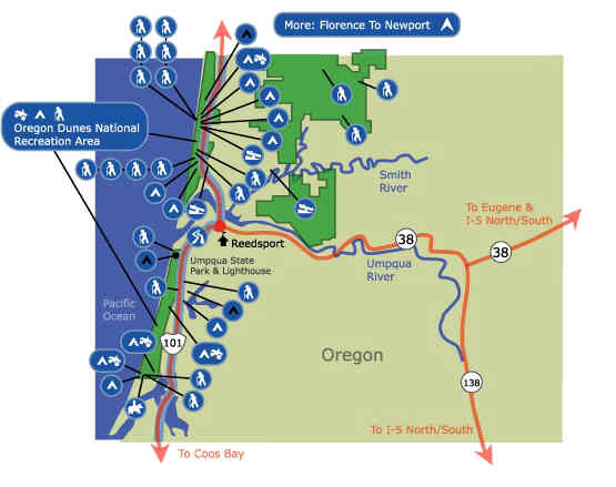 Oregon Dunes National Recreation Area Map