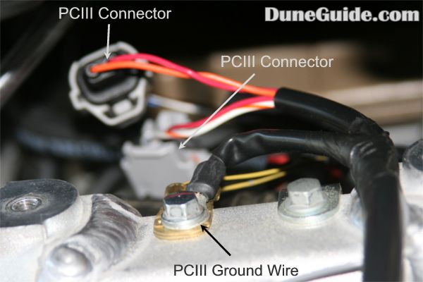 product review dynojet power commander iii plug the pciii wiring harness in line of the stock wiring harness and injector remove the bolt that secures the stock ground wire