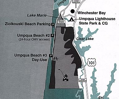 Umpqua Oregon Map.Oregon Dunes Winchester Bay Sand Dune Guide