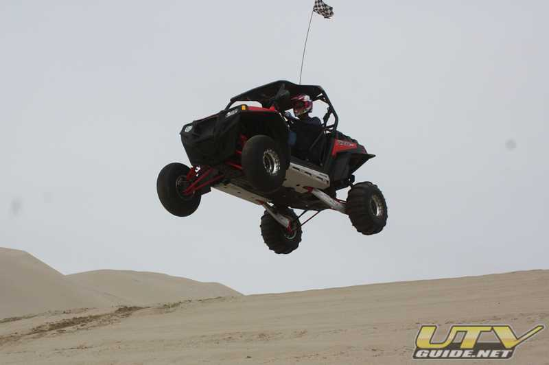 Polaris RZR XP jumping at Sand Mountain